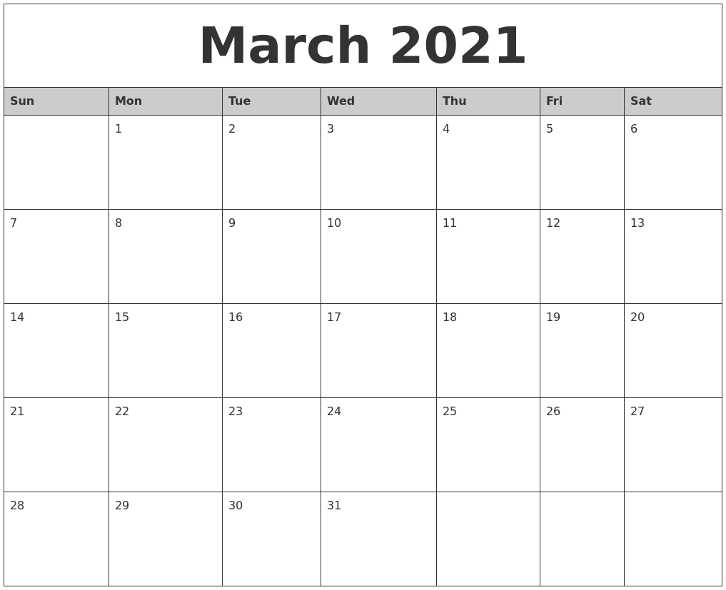 March 2021 Monthly Calendar Printable
