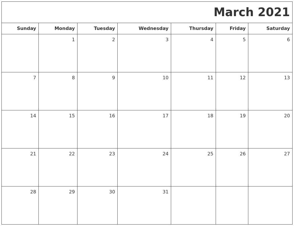 March 2021 Printable Blank Calendar