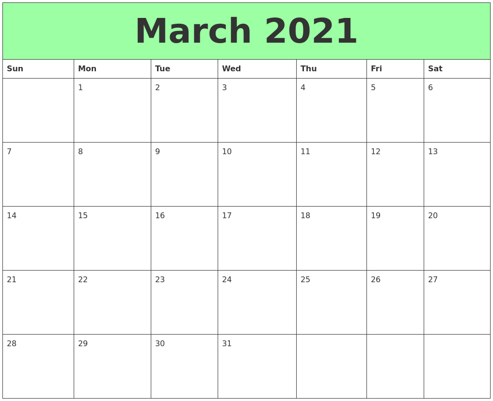 March 2021 Printable Calendars