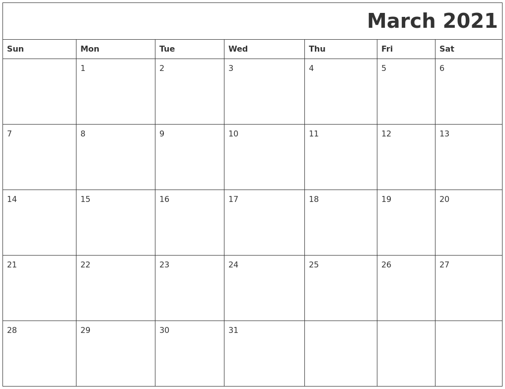 March 2021 Printable Calender