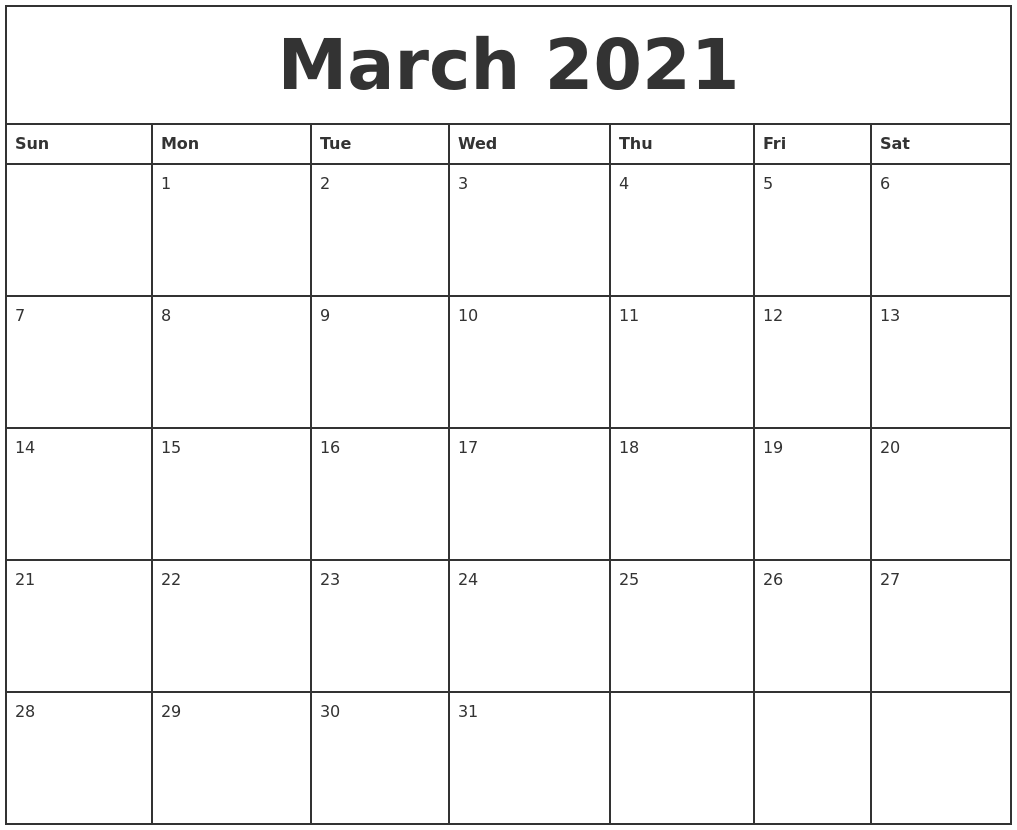 March 2021 Printable Monthly Calendar