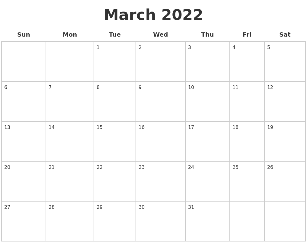March 2022 Blank Calendar Pages