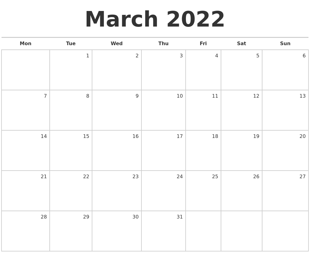 March 2022 Blank Monthly Calendar