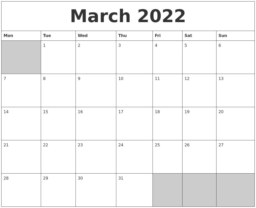 March 2022 Blank Printable Calendar PDF's