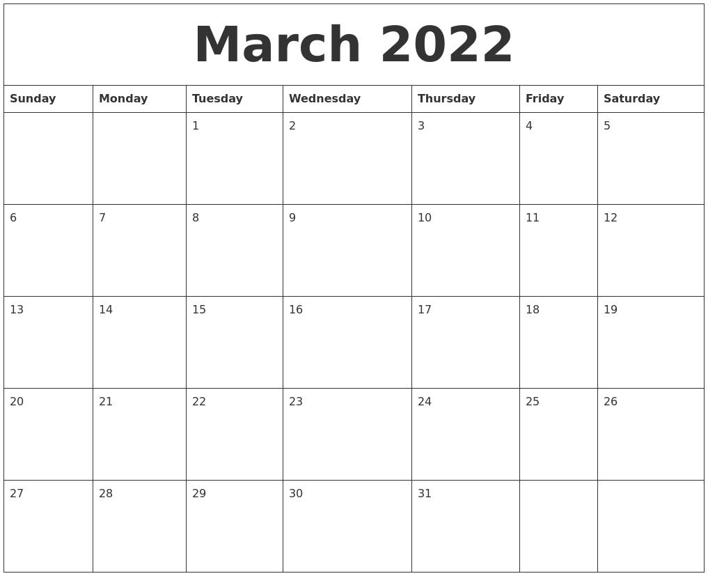 March 2022 Calendar.March 2022 Calendar