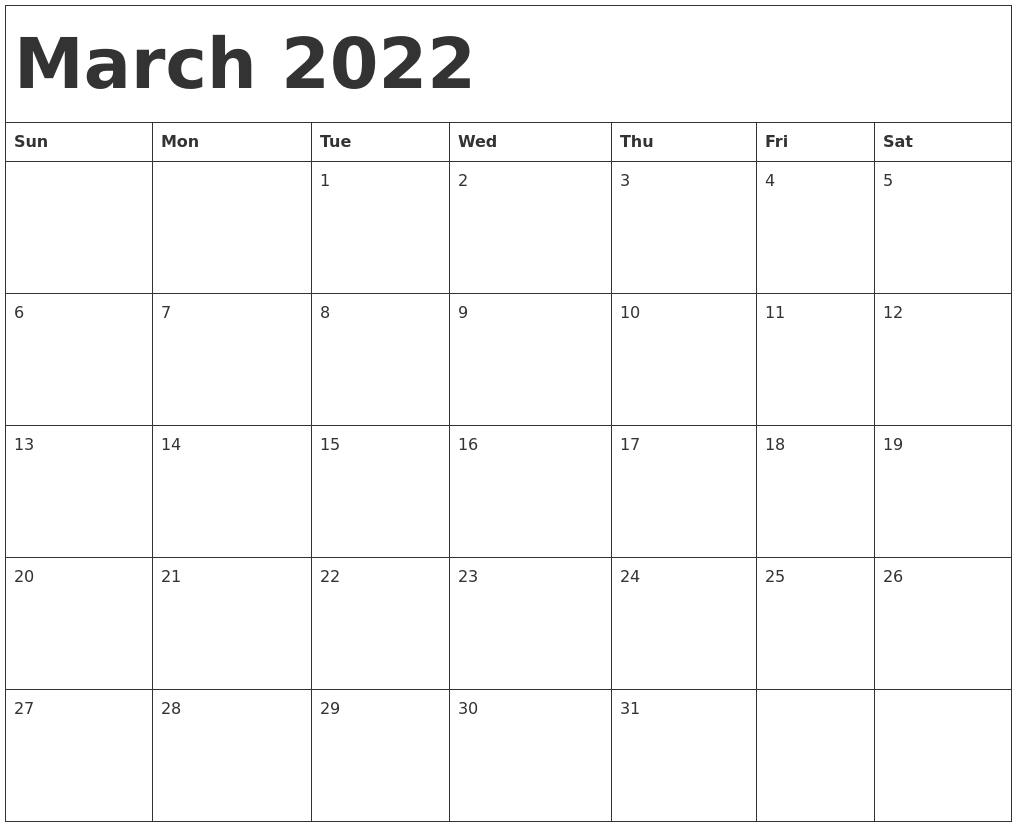 photo relating to 2022 Calendar Printable known as March 2022 Calendar Template