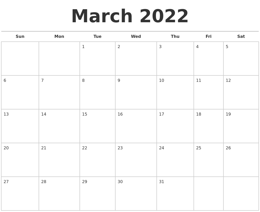 March 2022 Calendars Free
