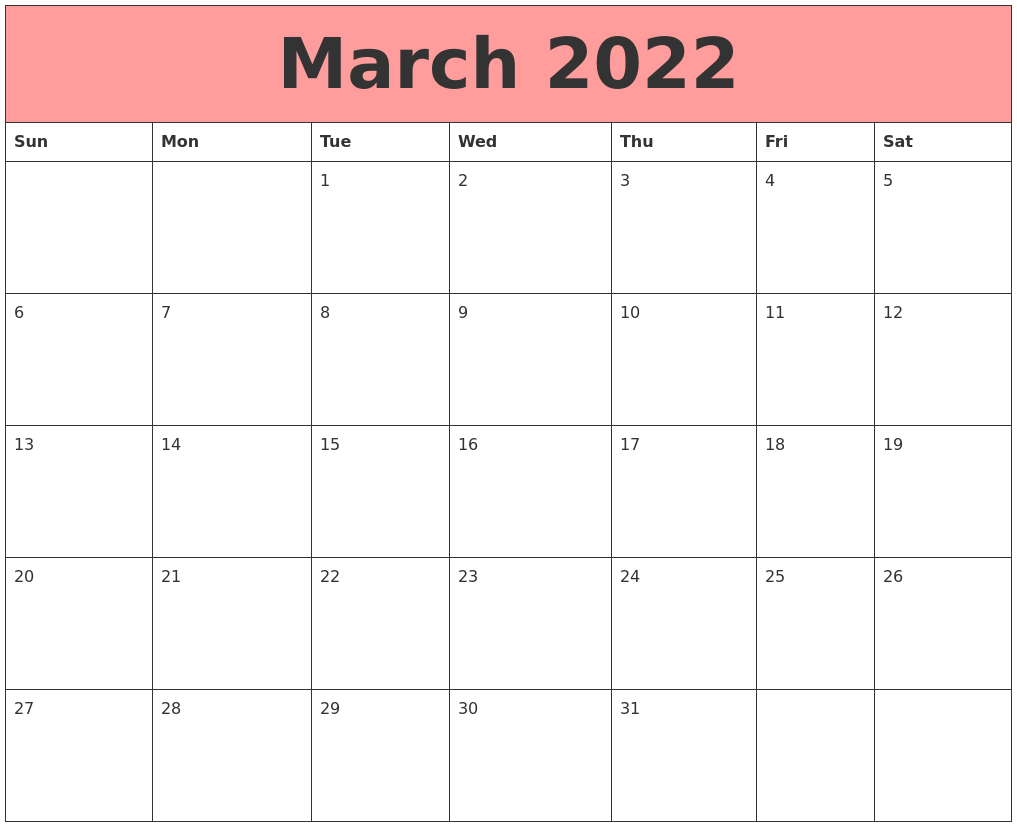 March 2022 Calendars That Work
