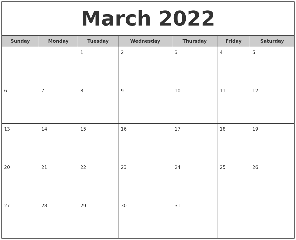 March 2022 Free Monthly Calendar