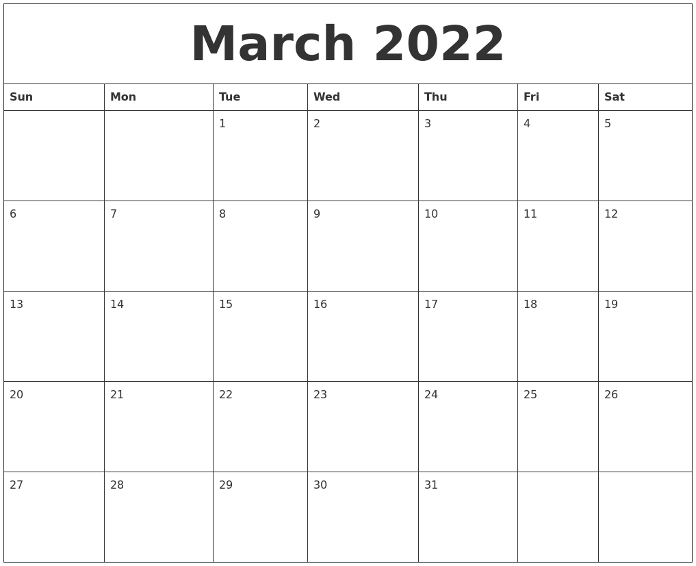 March 2022 Free Monthly Calendar Template