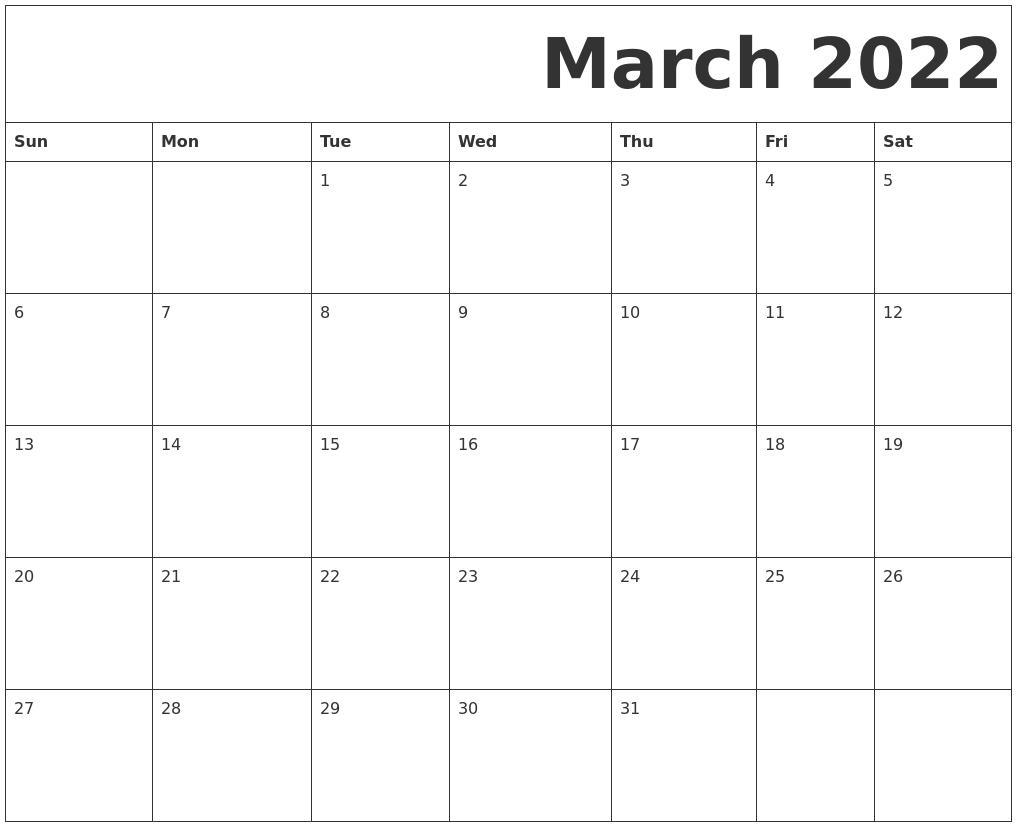 Printable Dec 2022 Calendar.March 2022 Free Printable Calendar