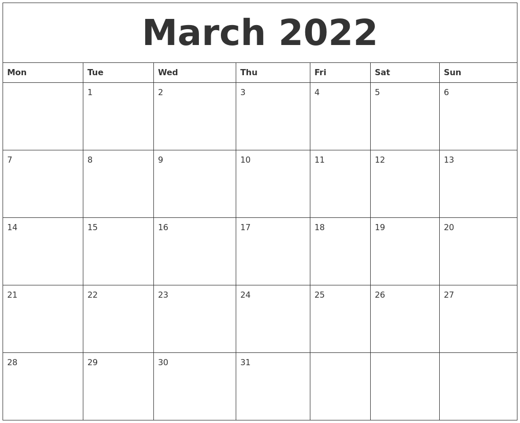 Free Printable March 2022 Calendar.March 2022 Free Printable Monthly Calendar