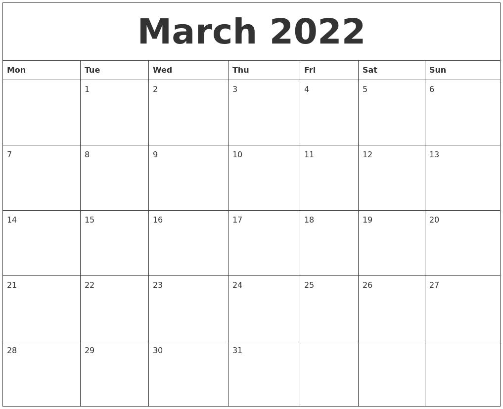 Blank Calendar March 2022.March 2022 Large Printable Calendar