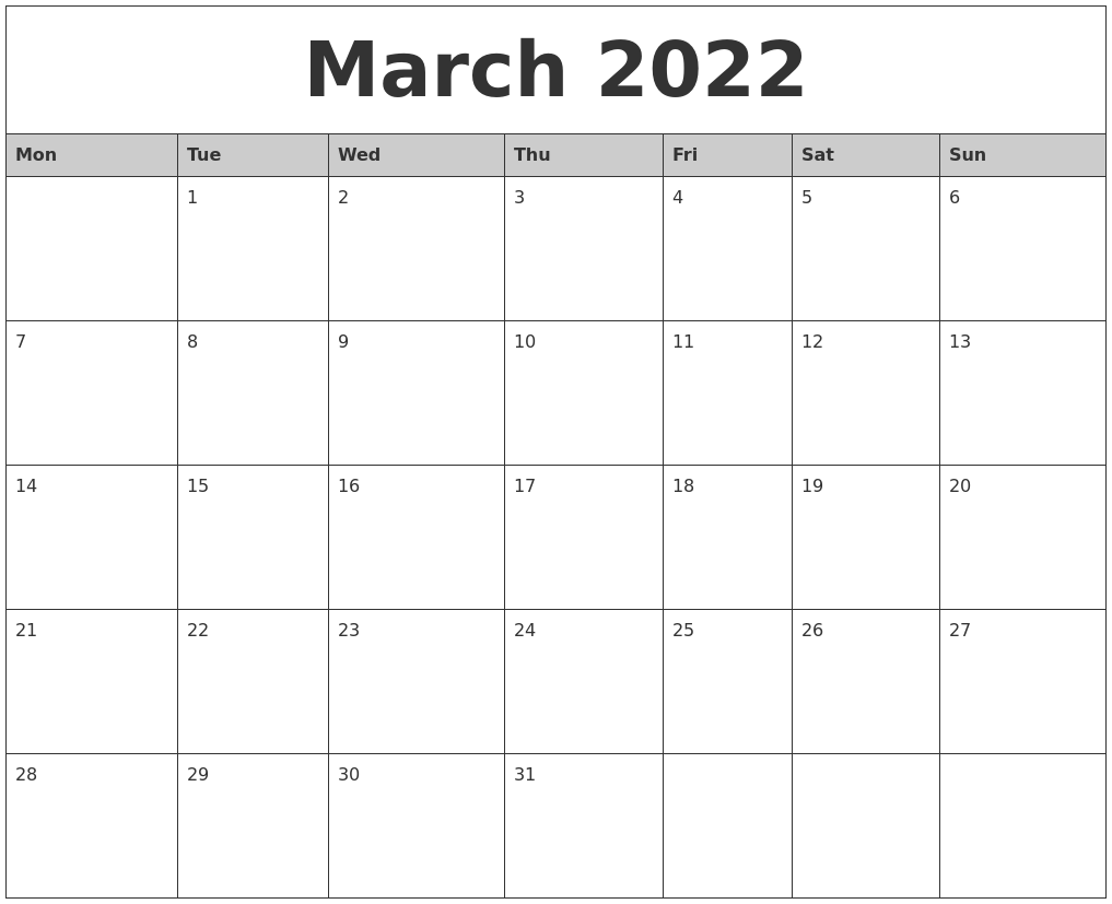 March 2022 Monthly Calendar Printable