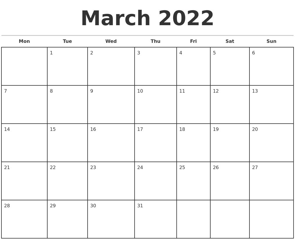Monthly Calendar March 2022.March 2022 Monthly Calendar Template