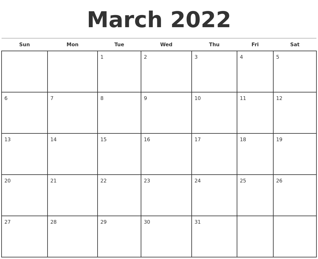 March 2022 Monthly Calendar Template