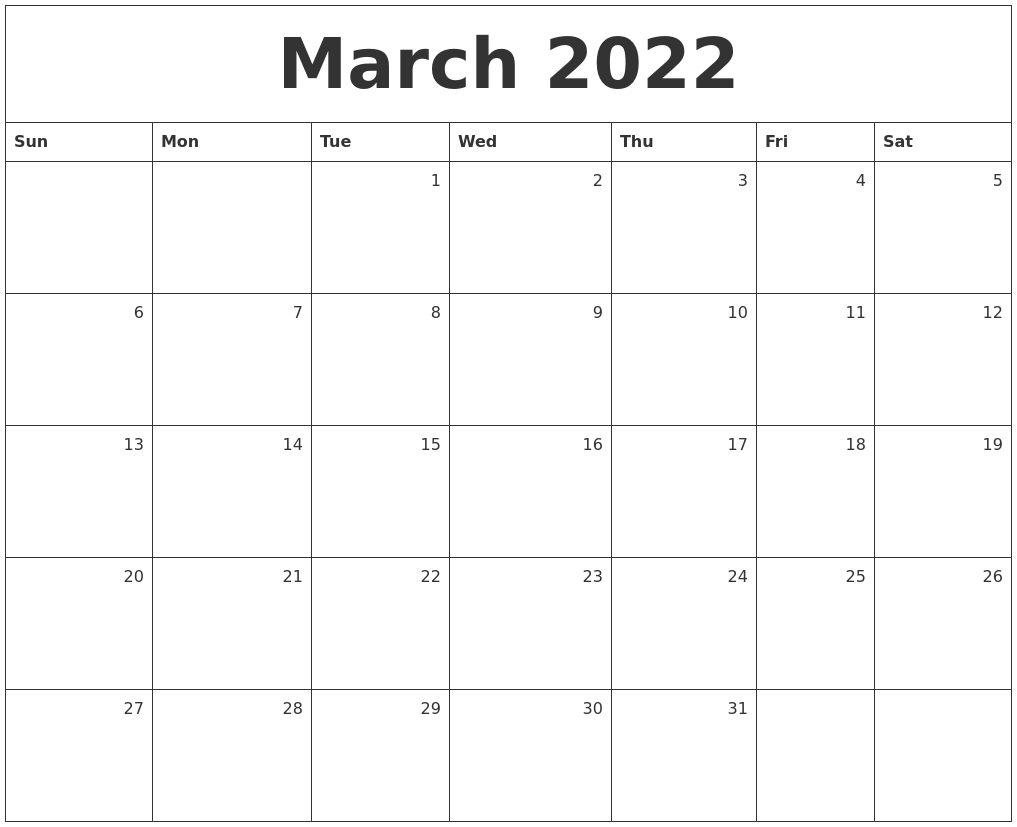 March 2022 Monthly Calendar