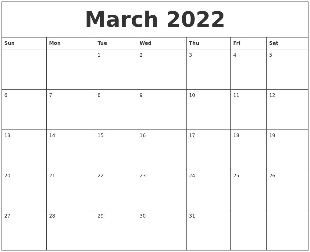 Calendar March 2022 Printable.March 2022 Monthly Printable Calendar