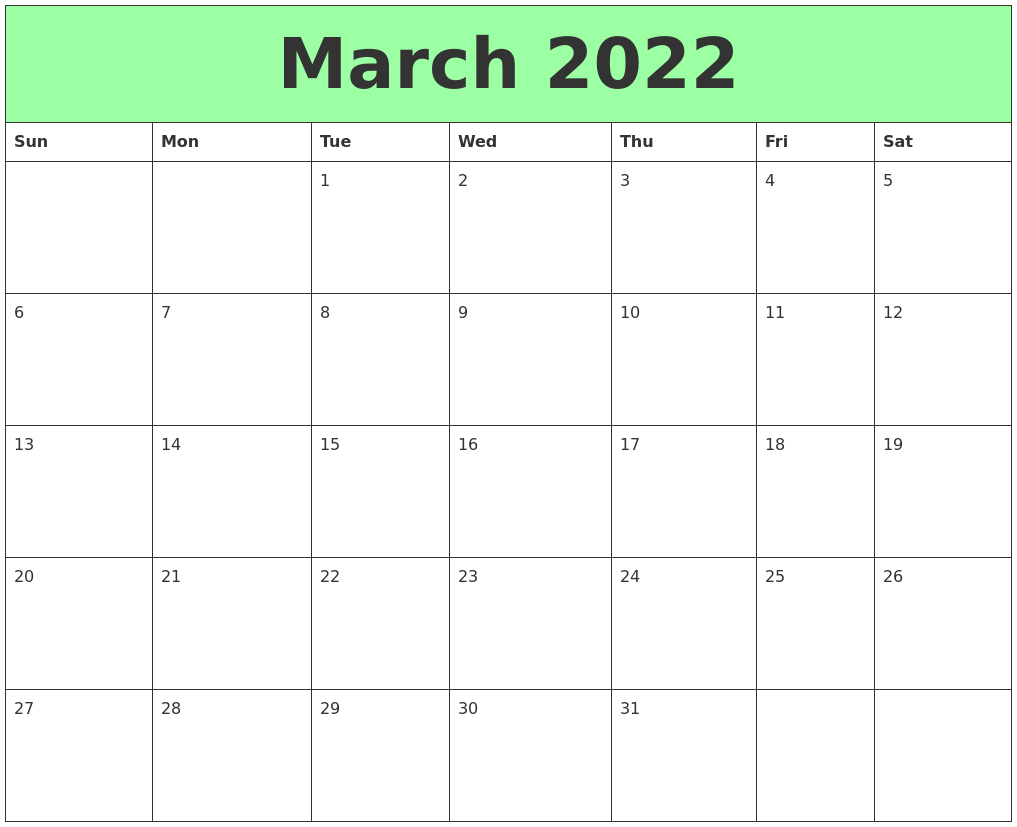 March 2022 Printable Calendars