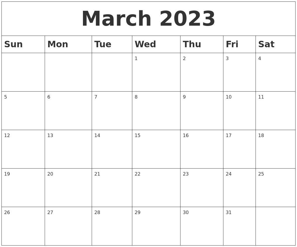 March 2023 Blank Calendar