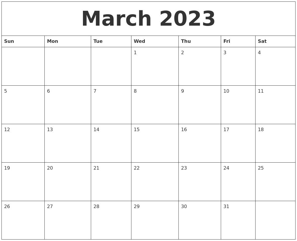 March 2023 Calendar Free Printable