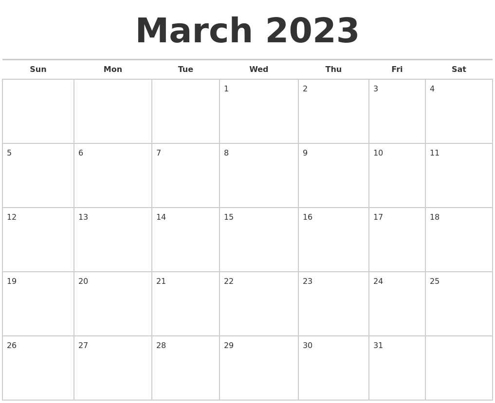 March 2023 Calendars Free