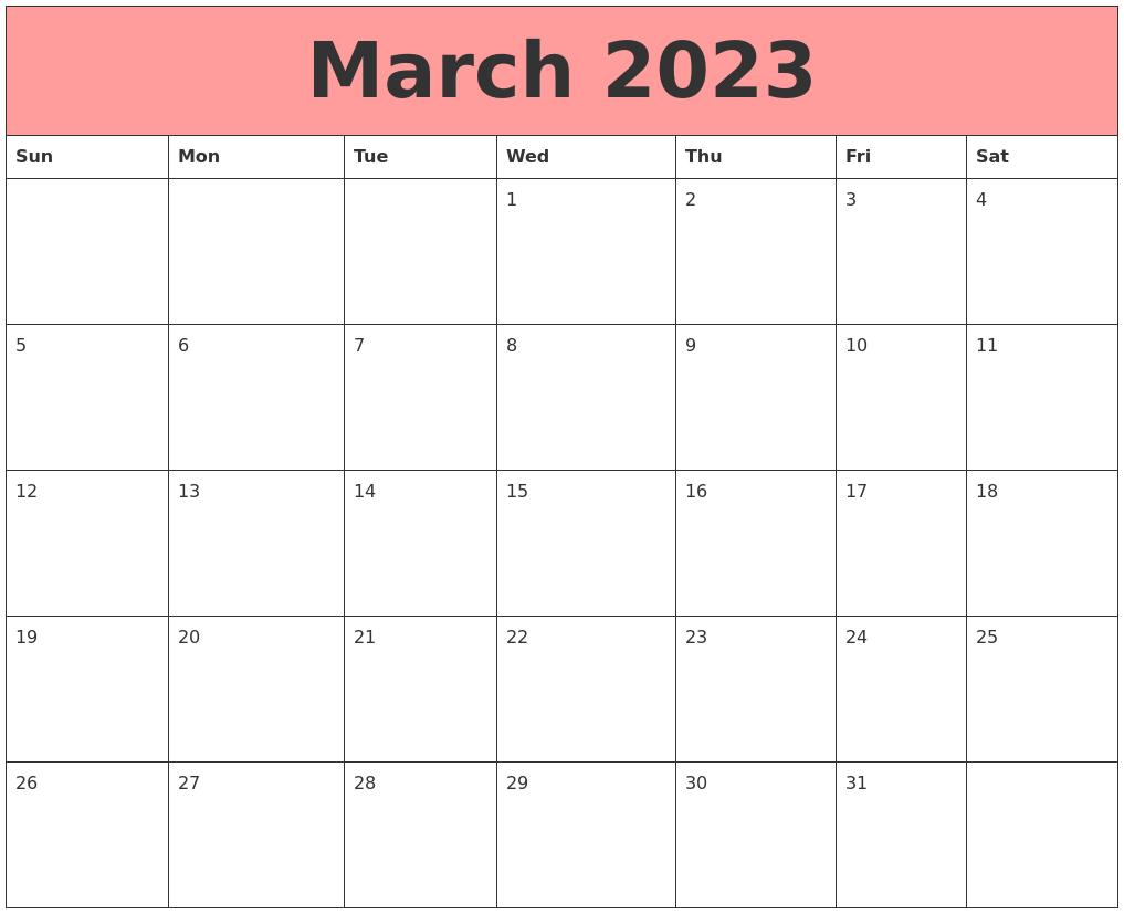 March 2023 Calendars That Work