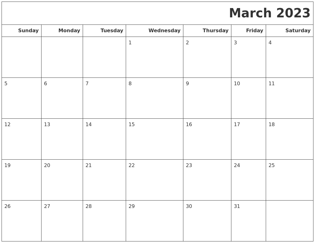 March 2023 Calendars To Print
