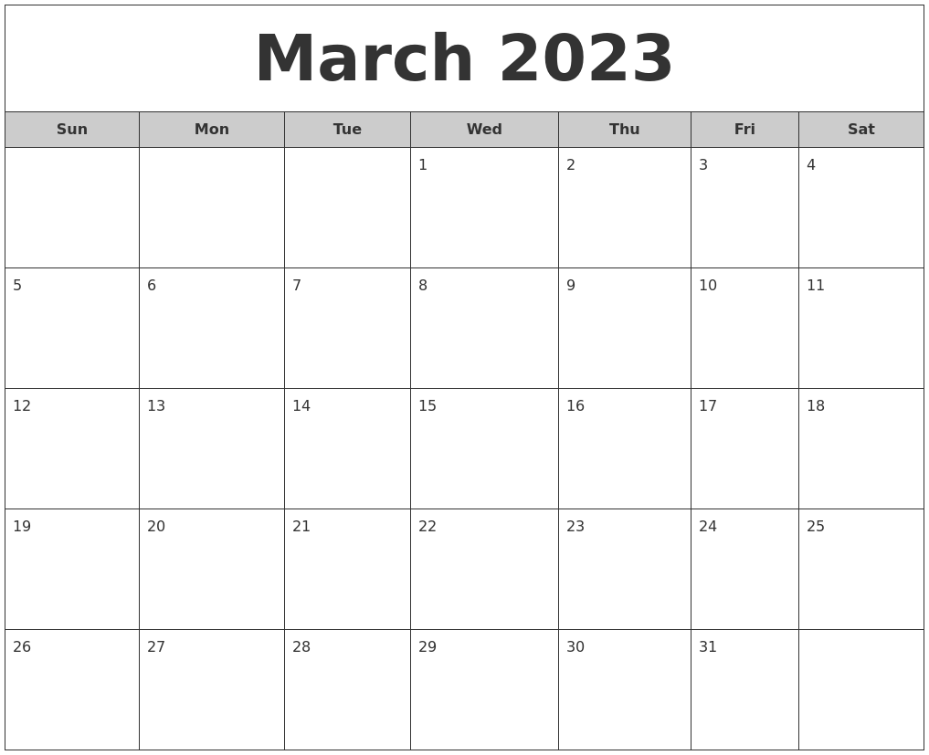 March 2023 Free Monthly Calendar