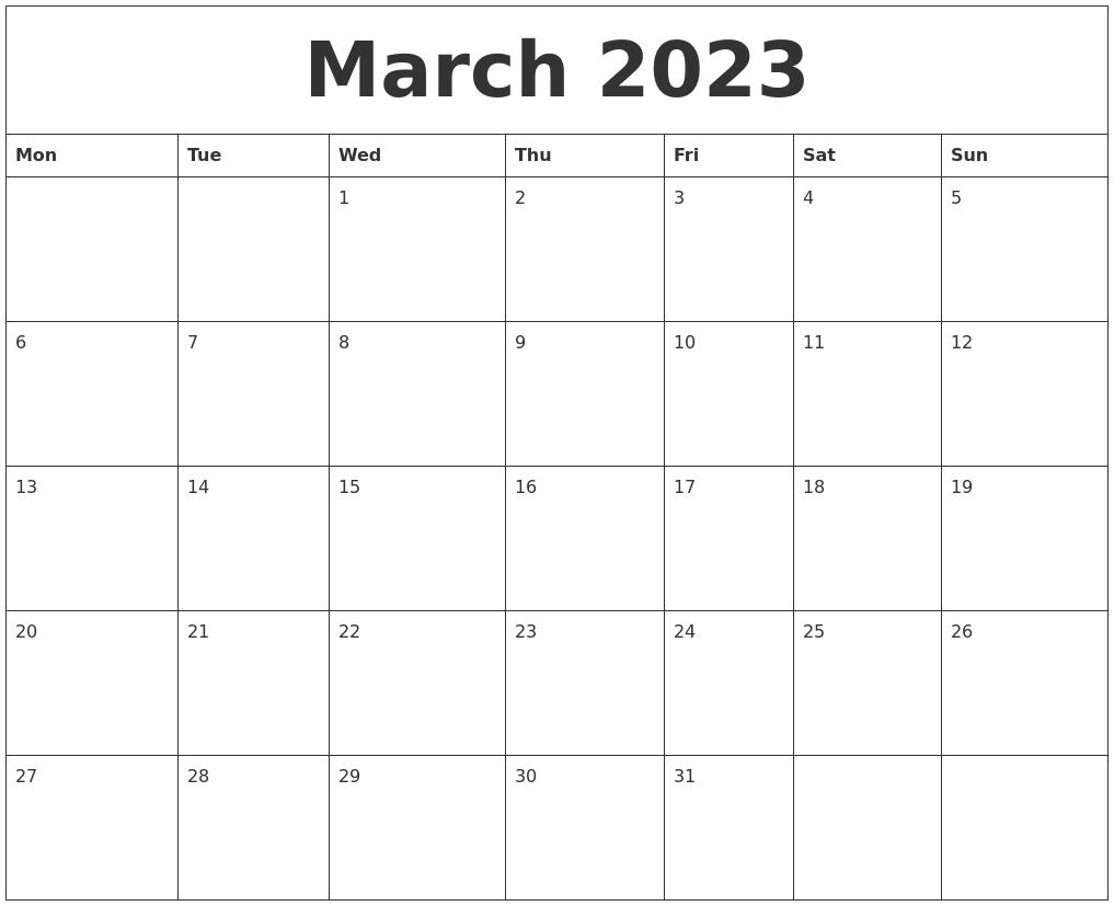 March 2023 Month Calendar Template