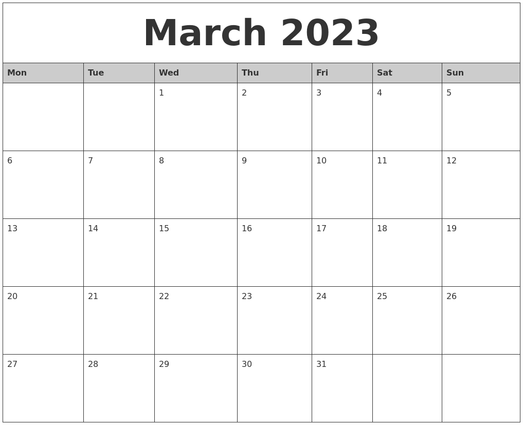 March 2023 Monthly Calendar Printable