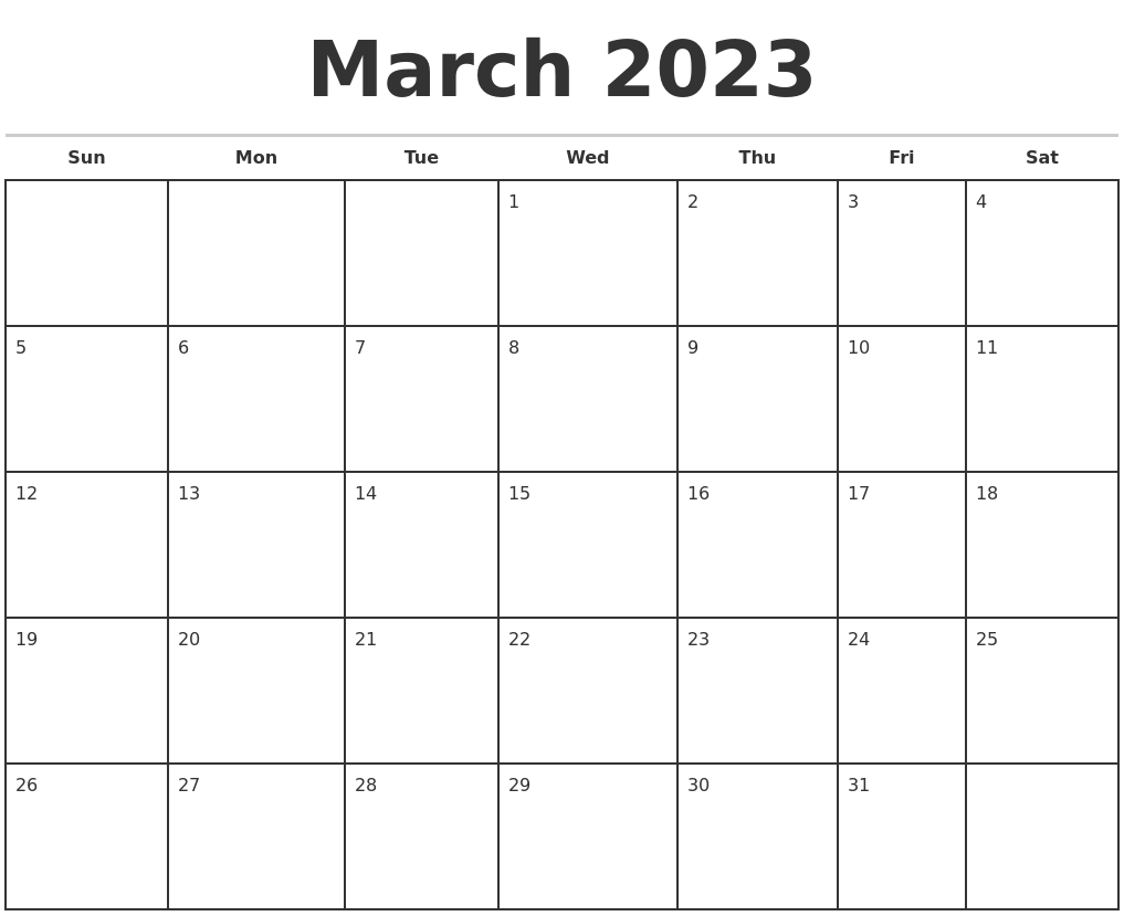 March 2023 Monthly Calendar Template
