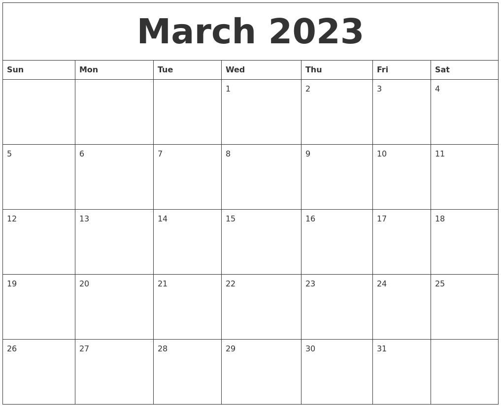 March 2023 Monthly Calendar To Print
