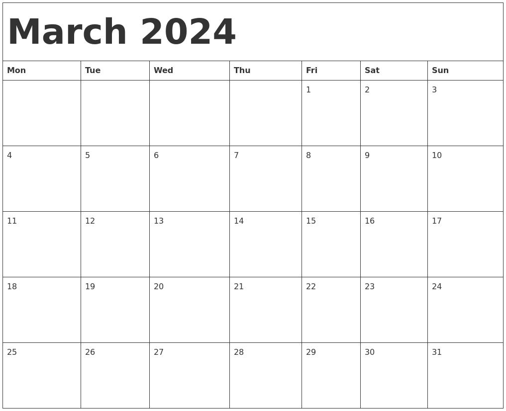 March 2024 Calendar Template