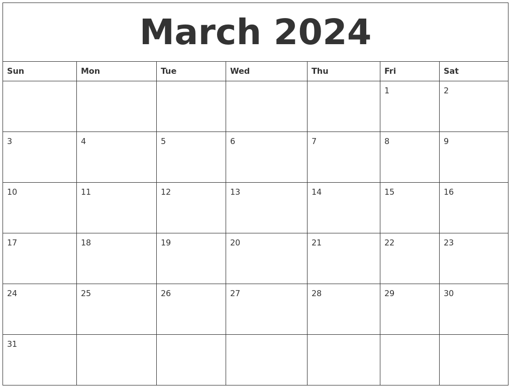 March 2024 Free Monthly Calendar Template