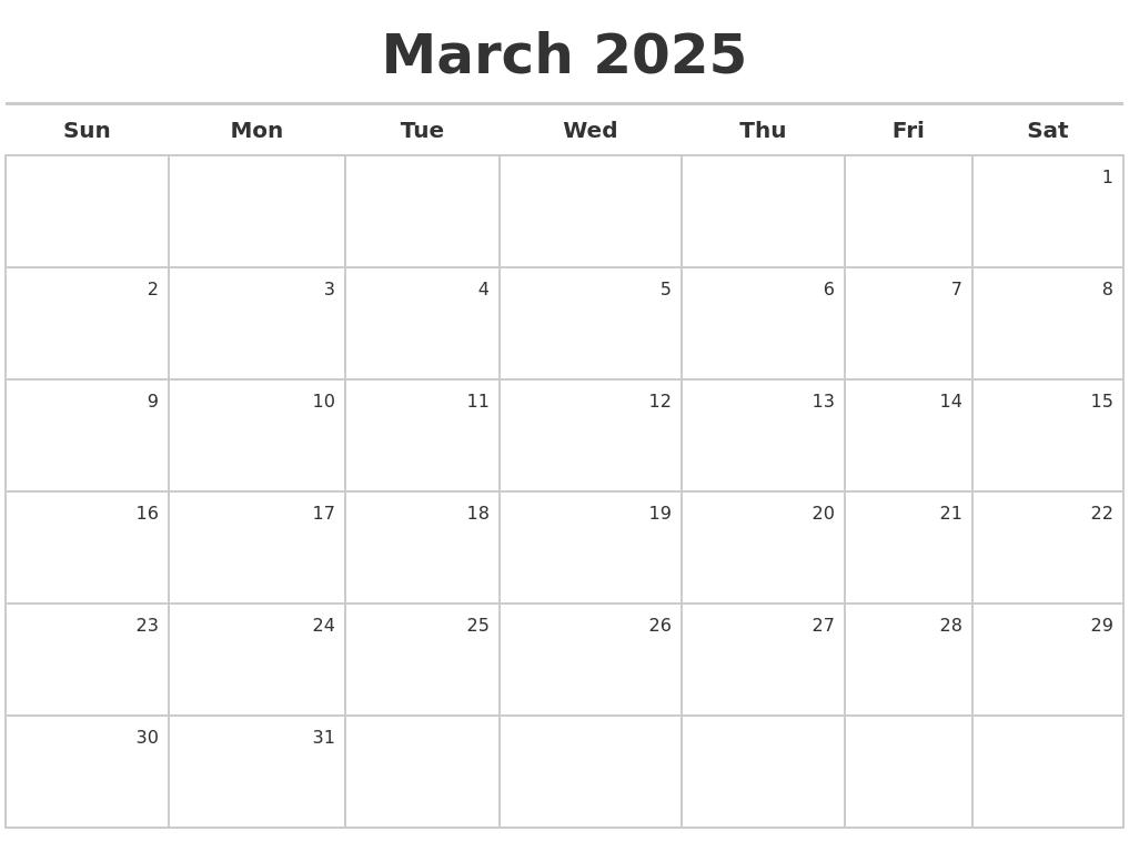 March 2025 Calendar Maker