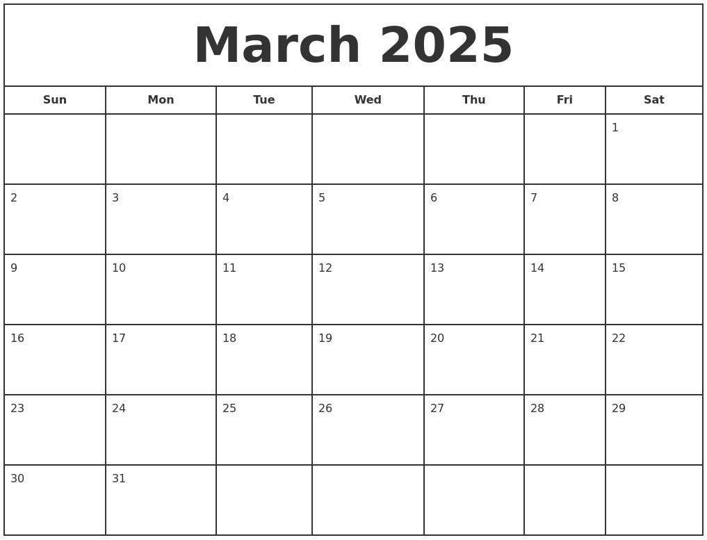 March 2025 Print Free Calendar