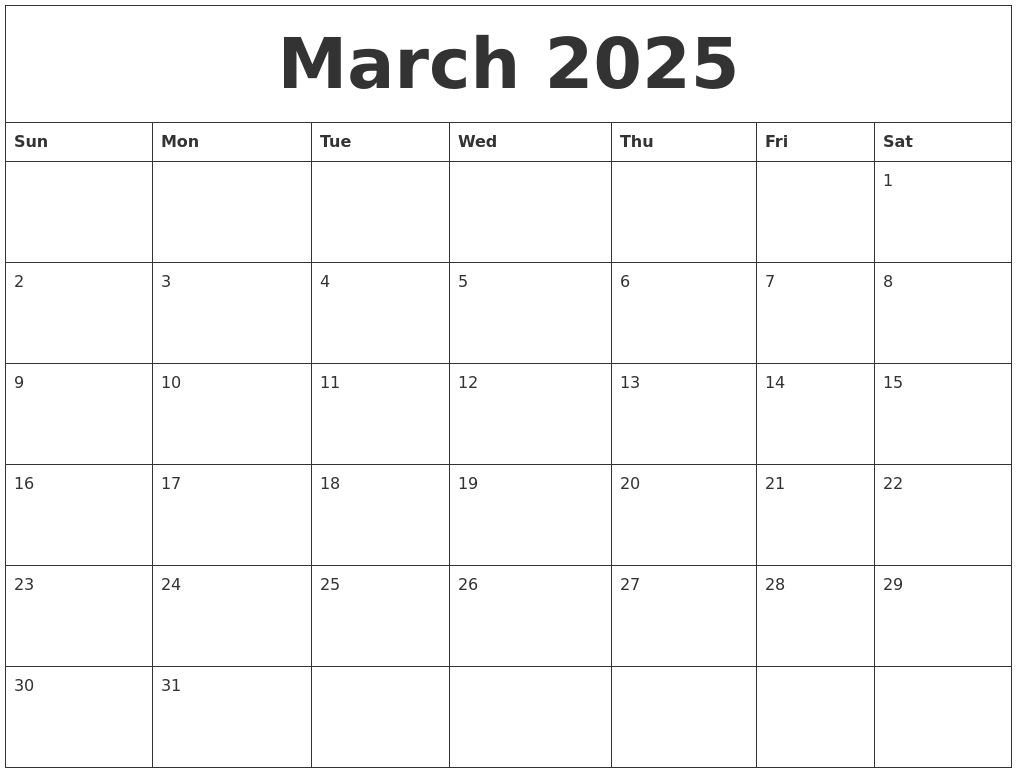 March 2025 Printable Calendar Templates