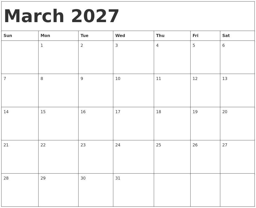 March 2027 Calendar Template