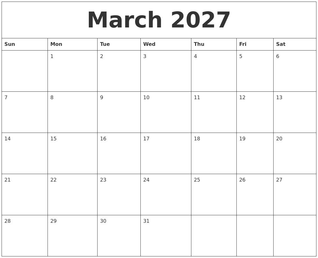 May 2027 Printable December Calendar