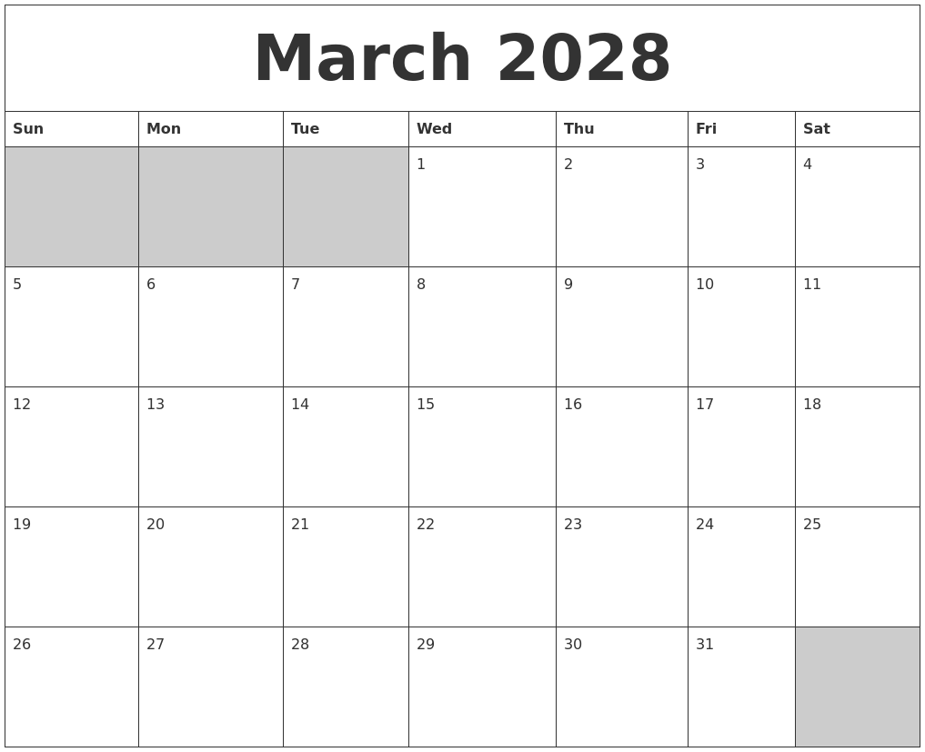 Calendar 2018 Holidays In March