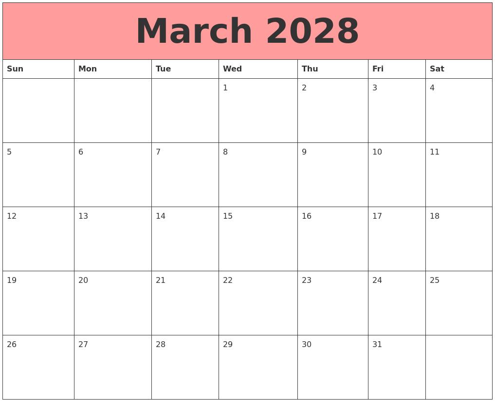July 2028 Calendar Printable
