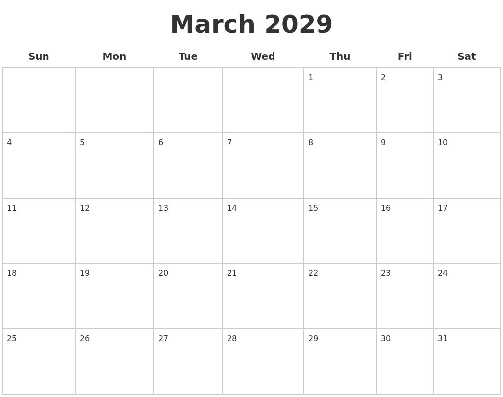 December 2028 Blank Monthly Calendar