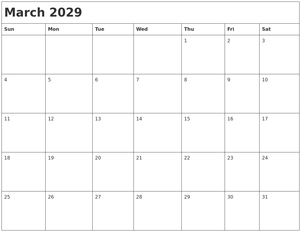 February 2029 Blank Calendar Pages