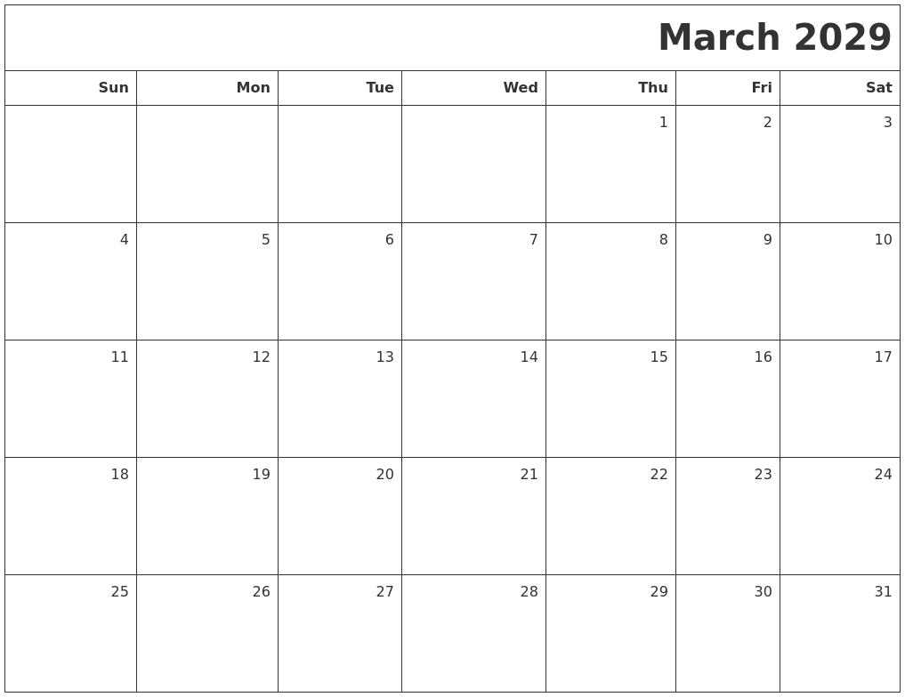 March 2029 Printable Blank Calendar