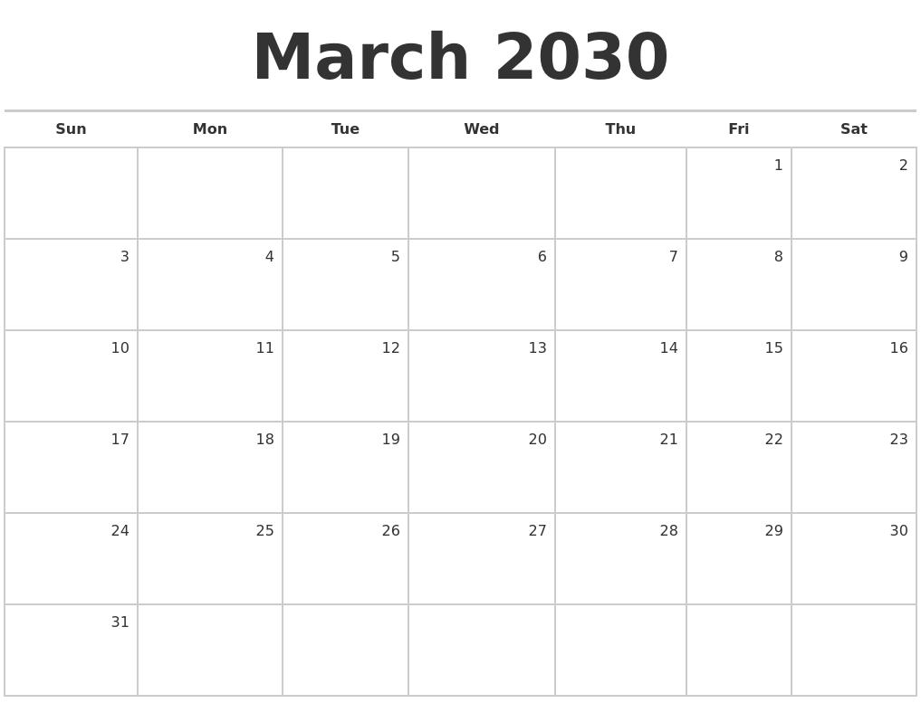 March Calendar Zoom : March blank monthly calendar