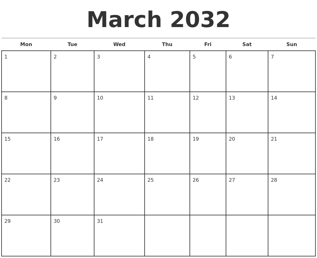 March 2032 Monthly Calendar Template