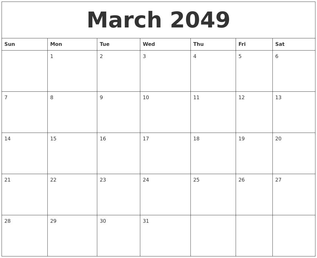 December 2048 Calendar Free Printable