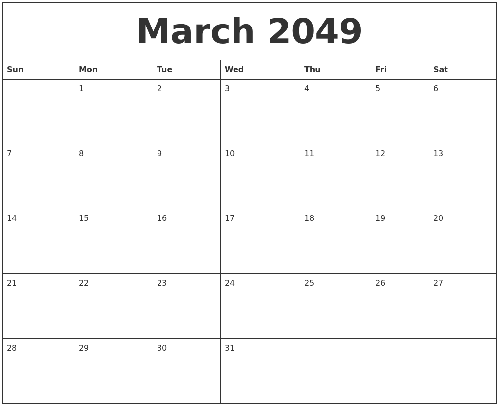 March 2049 Free Calendar Download