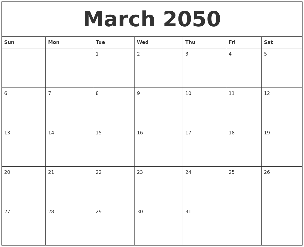 March 2050 Calendar Templates Free